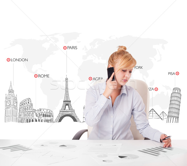 Beautiful young businesswoman with world map and major landmarks of the world Stock photo © ra2studio