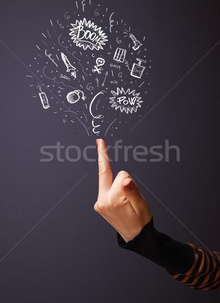 Materiały wybuchowe na zewnątrz pistolet ręce wybuchowy Zdjęcia stock © ra2studio