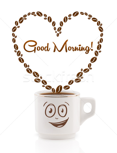 Coffee mug with coffee beans shaped heart with good morning sign, isolated on white Stock photo © ra2studio