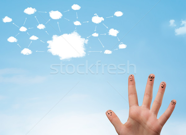 ストックフォト: 指 · スマイリー · クラウドネットワーク · 顔 · 手 · 笑顔