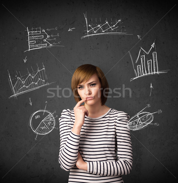 Young woman thinking with charts circulation around her head Stock photo © ra2studio
