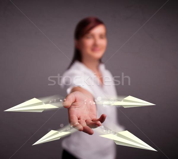 Mooie dame origami vliegtuigen jonge Stockfoto © ra2studio