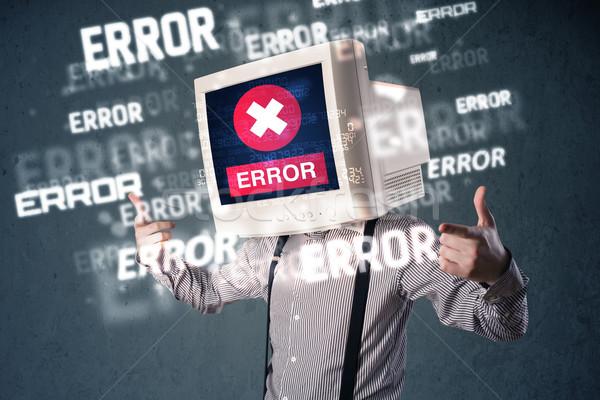 üzletember pc monitor fej hiba üzenetek Stock fotó © ra2studio