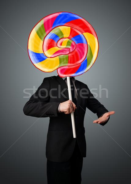 ストックフォト: ビジネスマン · ロリポップ · カラフル · 縞模様の · 頭