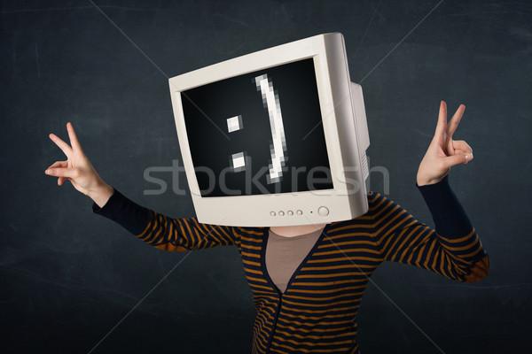 Vicces lány monitor doboz fej mosolygós arc Stock fotó © ra2studio