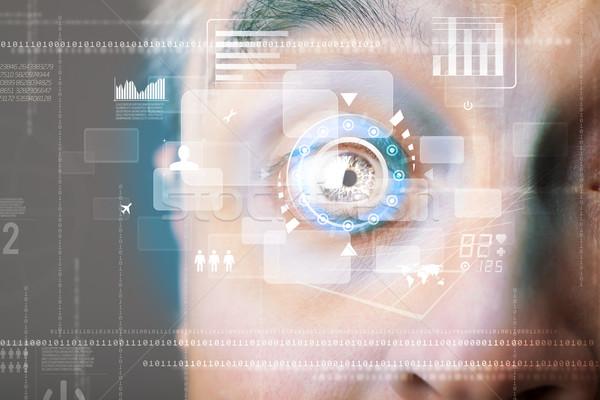 Futuristic modern cyber man with technology screen eye panel Stock photo © ra2studio