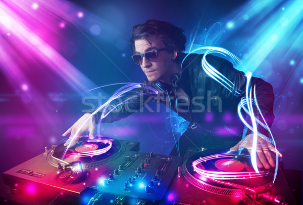 Energiek muziek krachtig lichteffecten jonge partij Stockfoto © ra2studio