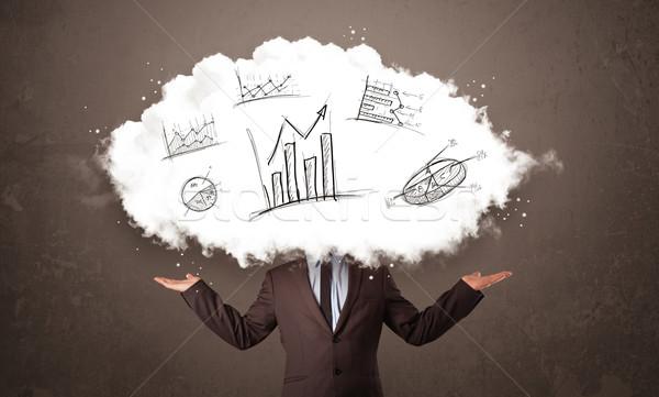 ストックフォト: エレガントな · ビジネスマン · 雲 · 頭 · 手描き