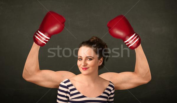 сильный Боксер оружия довольно женщину Сток-фото © ra2studio