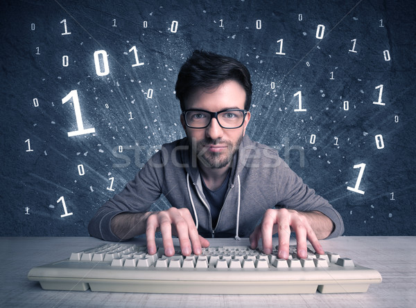 Online intruder geek guy hacking codes Stock photo © ra2studio