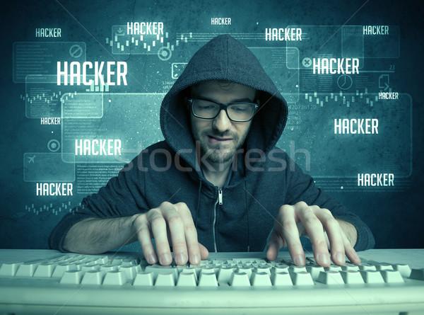 хакер клавиатура очки молодые красивый NERD Сток-фото © ra2studio