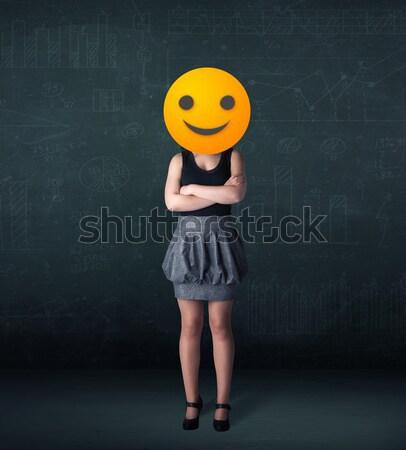 Stock fotó: üzletasszony · citromsárga · mosolygós · arc · vicces · üzlet · mosoly