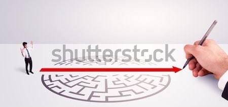 Zakenman permanente entree labyrint hand tekening Stockfoto © ra2studio
