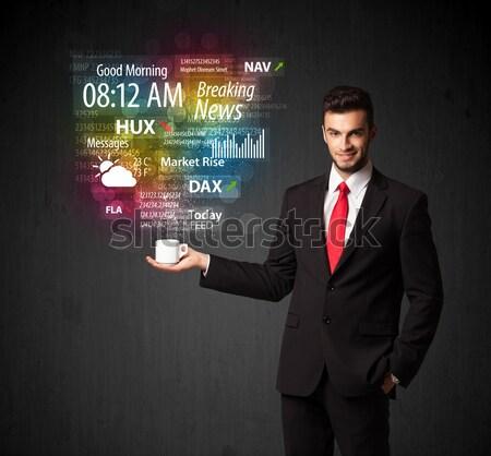Biznesmen biały kubek codziennie wiadomości Zdjęcia stock © ra2studio