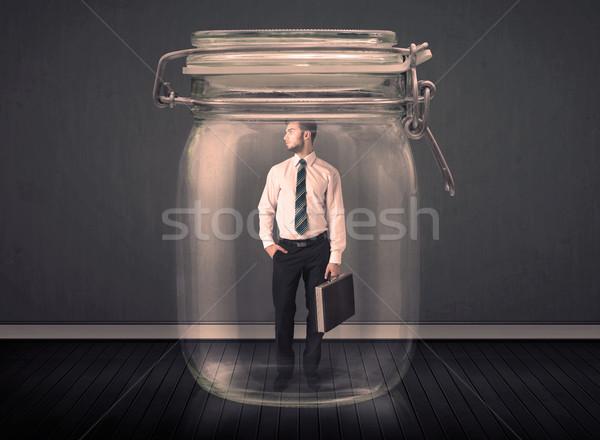 Biznesmen uwięzione szkła jar działalności przestrzeni Zdjęcia stock © ra2studio