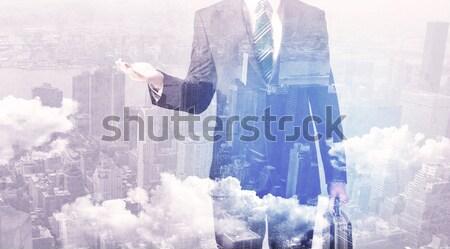 Hombre de negocios pie ciudad negocios hombre Foto stock © ra2studio