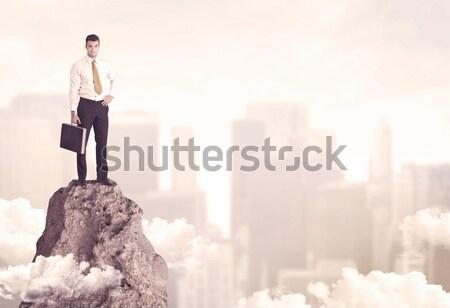 Imprenditore pericoloso rupe professionali vincitore uomo d'affari Foto d'archivio © ra2studio