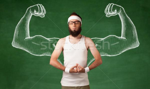 Sovány fiatalember edz fiatal férfi szakáll Stock fotó © ra2studio