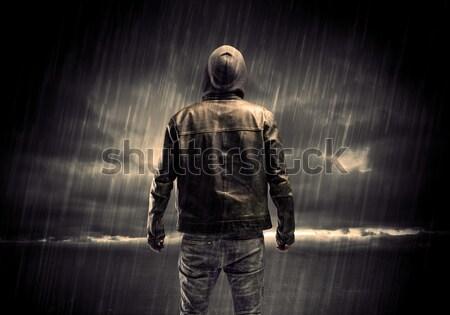 Tapéta veszély férfi fenyegetés épület karok Stock fotó © ra2studio