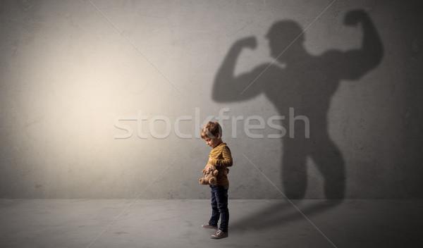 тень за мало мальчика пустой комнате образование Сток-фото © ra2studio