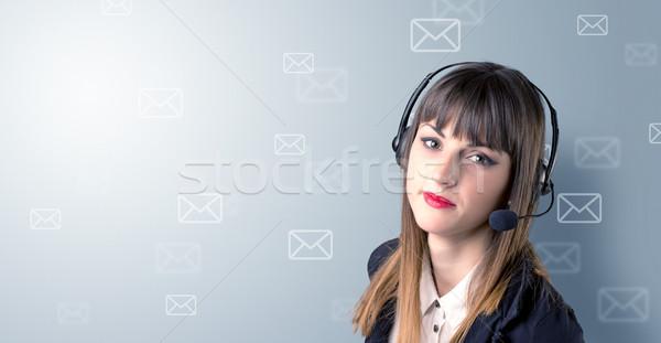 Female telemarketer c Stock photo © ra2studio