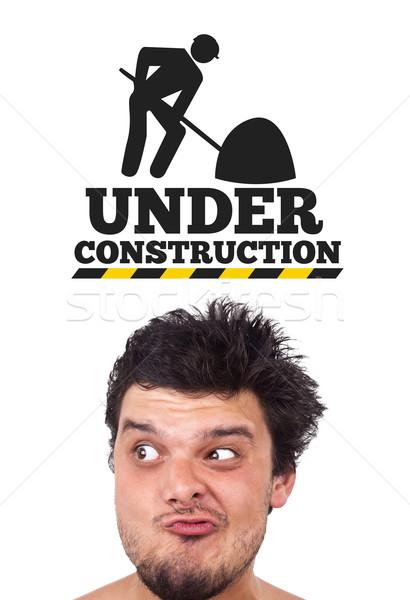 Jeunes tête regarder icônes personnes construction Photo stock © ra2studio