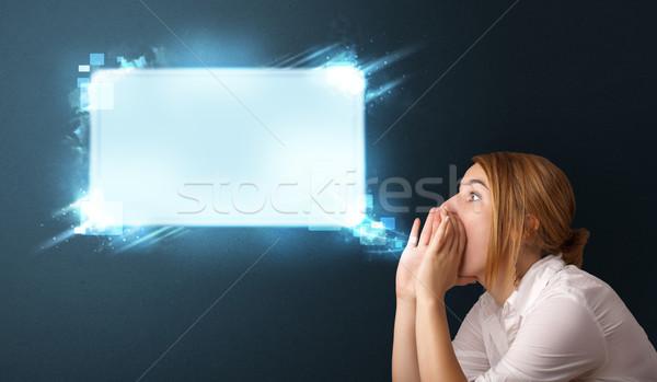 Fiatal nő absztrakt modern szövegbuborék copy space nő Stock fotó © ra2studio