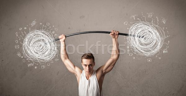 Foto stock: Muscular · homem · caos · forte · pedra