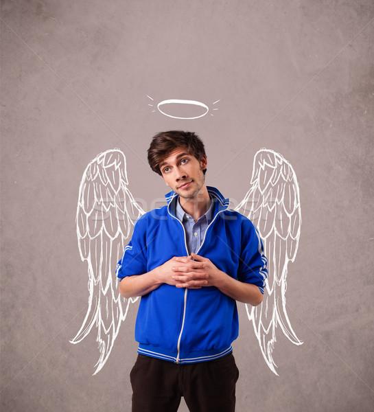 Stock fotó: Fiatalember · angyal · illusztrált · szárnyak · koszos · férfi