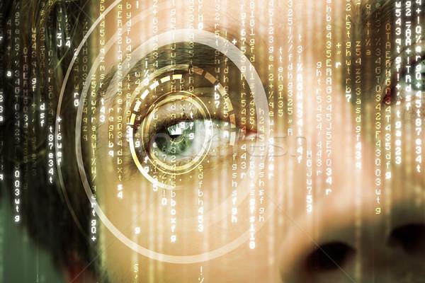 Modern cyber soldier with target matrix eye Stock photo © ra2studio