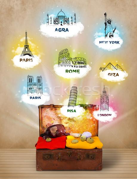 Turísticos maleta famoso alrededor mundo sucio Foto stock © ra2studio