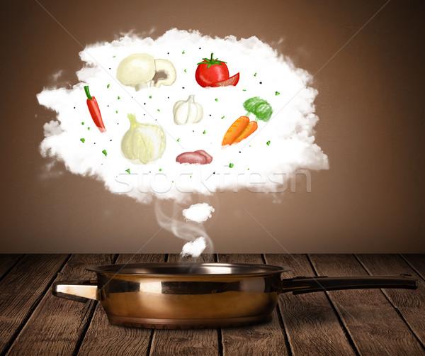 Zöldségek pára felhő gőz fölött lábas Stock fotó © ra2studio