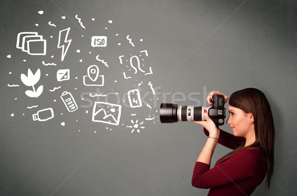 Fotograf dziewczyna biały fotografii ikona symbolika Zdjęcia stock © ra2studio