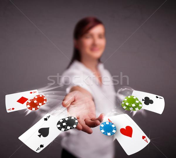 Fiatal nő játszik póker kártyák sültkrumpli csinos Stock fotó © ra2studio