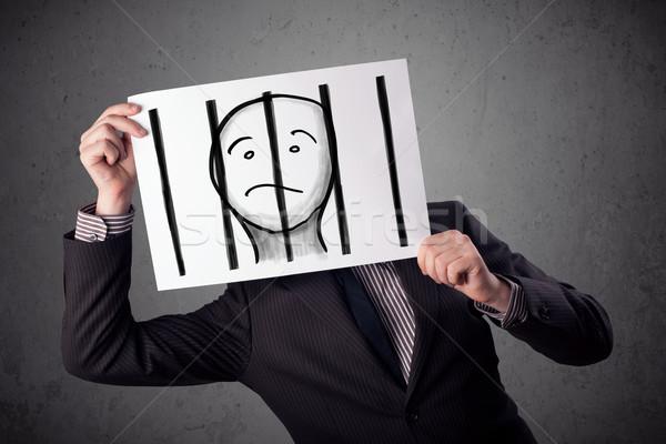 Stock fotó: üzletember · tart · papír · fogoly · mögött · rácsok