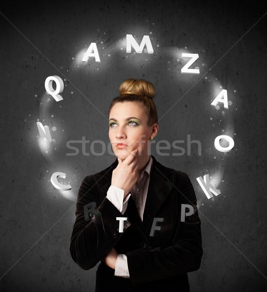 мышления письме вокруг голову Сток-фото © ra2studio