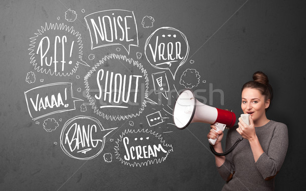 Girl yelling into megaphone and hand drawn speech bubbles come o Stock photo © ra2studio