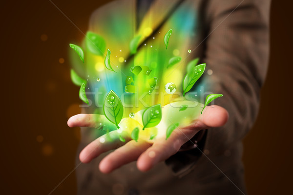 Young businessman presenting eco green leaf recycle energy conce Stock photo © ra2studio
