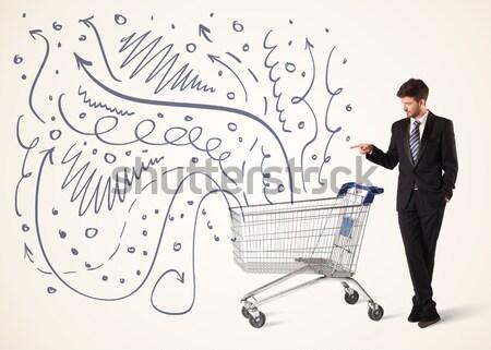 Biznesmen koszyk popychanie linie Zdjęcia stock © ra2studio