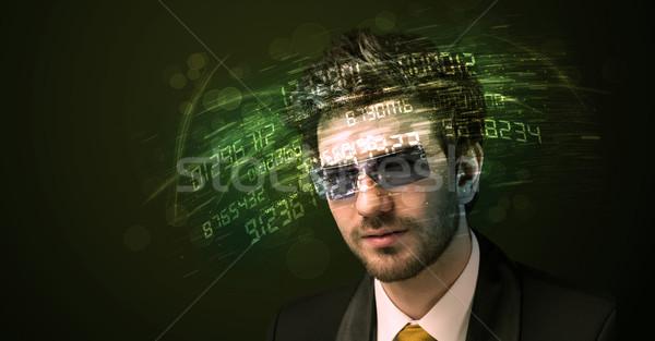 üzletember néz magas tech szám számítógép Stock fotó © ra2studio