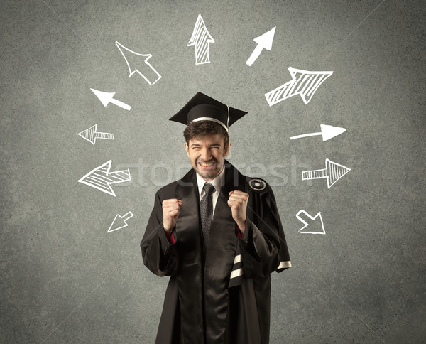 Young graduate student with hand drawn arrows  Stock photo © ra2studio