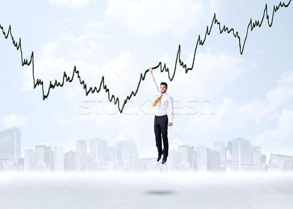 Opknoping zakenman grafiek touw hand ruimte Stockfoto © ra2studio