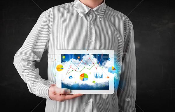Persona touchpad nube tecnologia classifiche Foto d'archivio © ra2studio