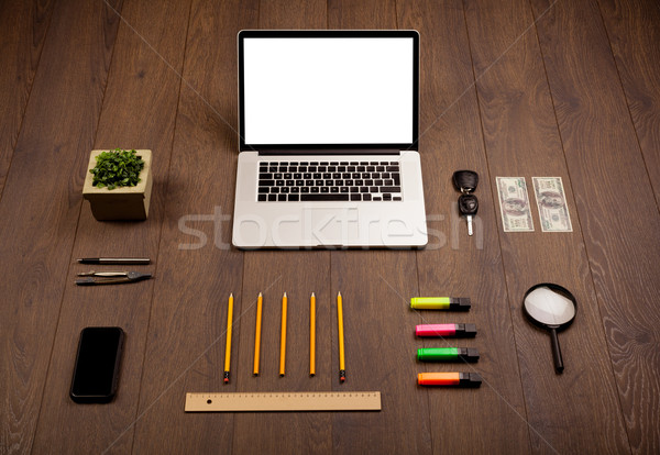 ビジネス デスク 事務用品 現代 ノートパソコン 白 ストックフォト © ra2studio