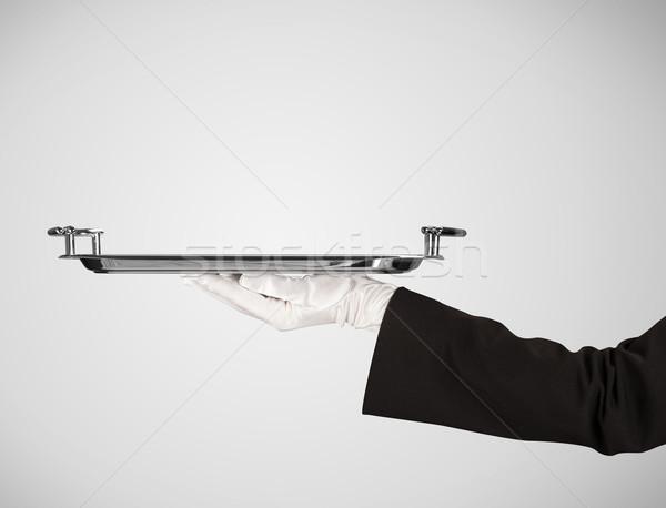 Tanıtım plaka şık el zarif garson Stok fotoğraf © ra2studio