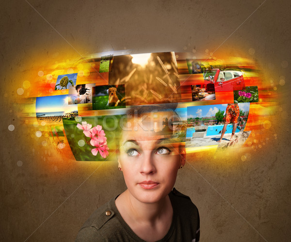girl with colorful glowing photo memories concept Stock photo © ra2studio