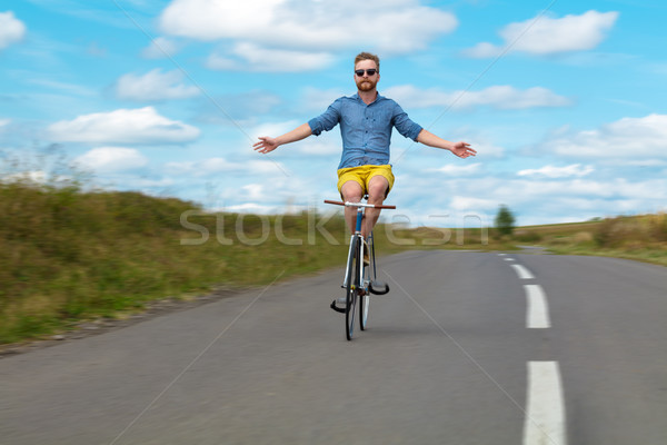 Stock photo: Natural young cyclist with amazing view