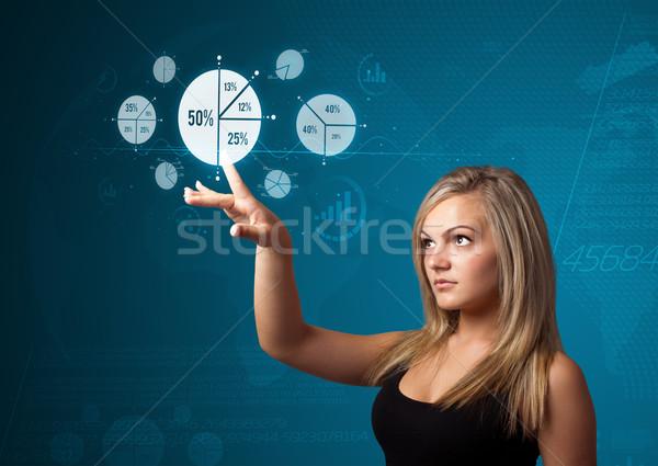Foto stock: Mujer · de · negocios · moderna · negocios · tipo · botones
