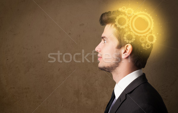 Young person thinking with a machine head illustration Stock photo © ra2studio