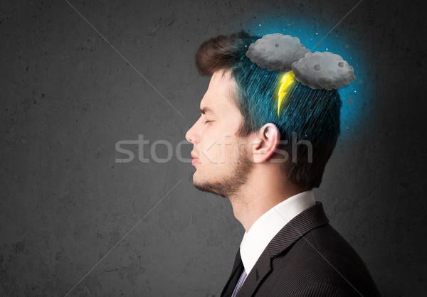Uomo temporale fulmini testa salute pioggia Foto d'archivio © ra2studio